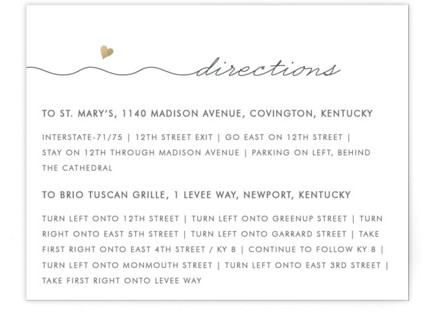 Love Connection Foil-Pressed Direction Cards