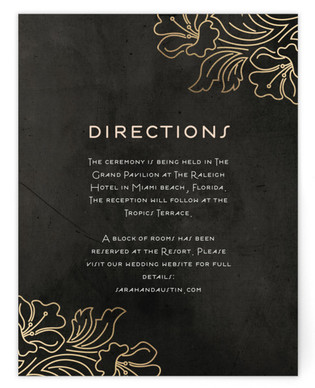 Foxtrot Frame Foil-Pressed Direction Cards