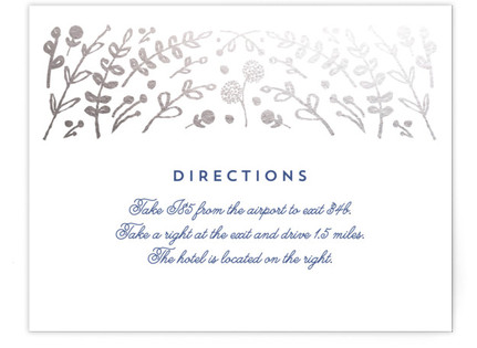 Floral Frame Foil-Pressed Direction Cards