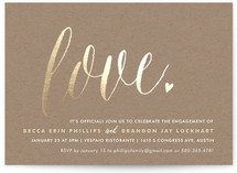 Charming Love Foil-Pressed Engagement Party Invitations