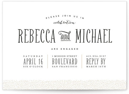 Gold Dotted Engagement Party Invitations