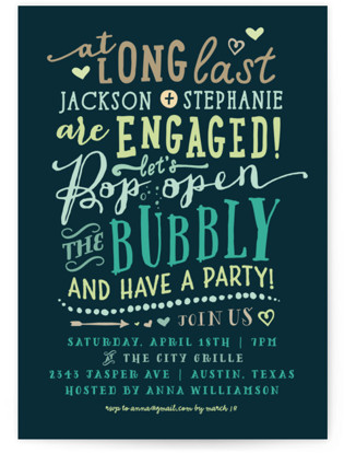 Bubbly Engagement Party Invitations
