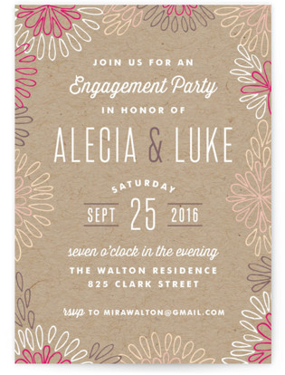 Modern Floral Border Engagement Party Invitations