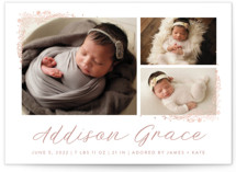 Delicate Collage Foil-Pressed Birth Announcement Postcards