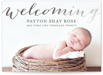 Welcoming Foil-Pressed Birth Announcement Postcards