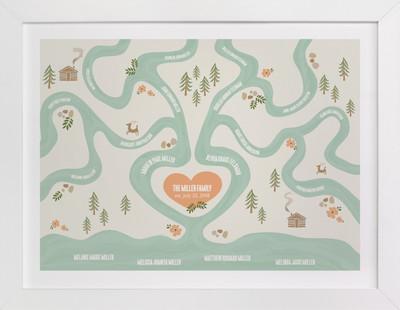 Heritage Stream Family Tree Custom Art Print