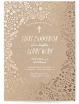 Communion Florals Foil-Pressed Confirmation Invitations