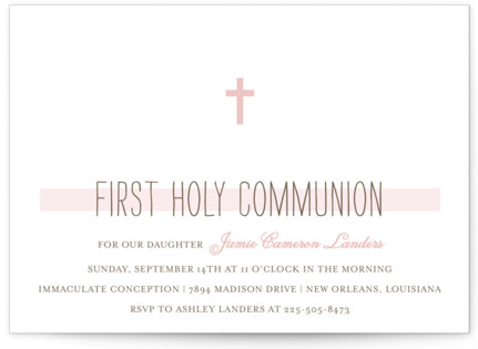 Simple Communion First Holy Communion Invitations