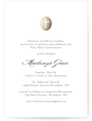 Medallion Cross First Holy Communion Invitations