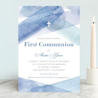 watercolor stripes First Communion Invitations