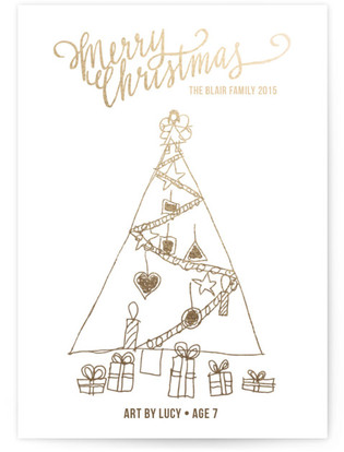 Merry Scriptmas Completely Custom Your Drawing As Foil Card