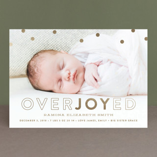 Overjoyed Holiday Foil-Pressed Holiday Birth Announcements