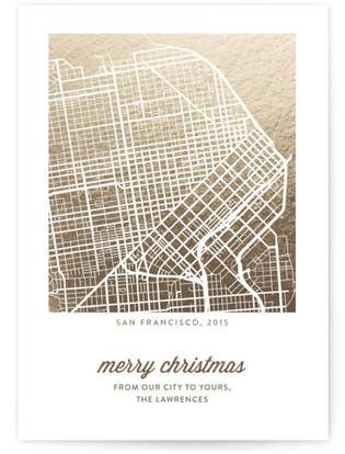 Merry Christmas Custom Foil Map Completely Custom Foil Map Cards
