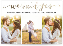 Jotted Foil-Pressed Wedding Announcement