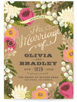 Floral Canopy Foil-Pressed Wedding Announcement