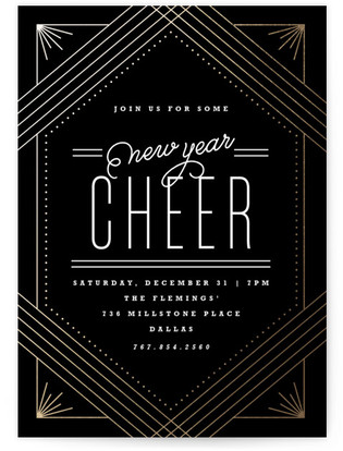 Midnight Glam Foil-pressed Party Invitation