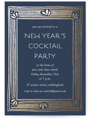Deco New Year Foil-pressed Party Invitation