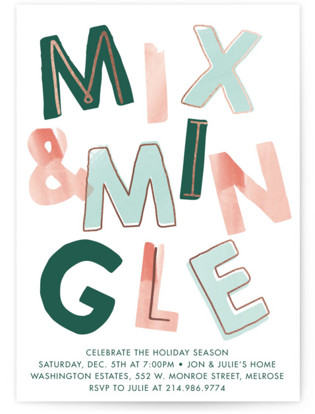 Mix and Mingle Foil-pressed Party Invitation