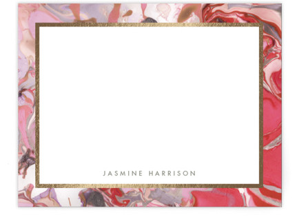 Marbled Border Foil-Pressed Personalized Stationery