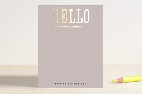 Holla Hello Foil-Stamped Stationery