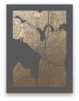 Seattle Map Foil-Pressed Wall Art