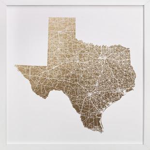 Texas Map Filled Foil-Pressed Art Print