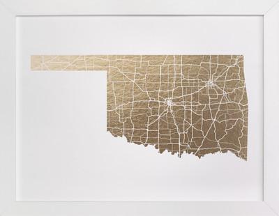Oklahoma Map Foil-Pressed Art Print