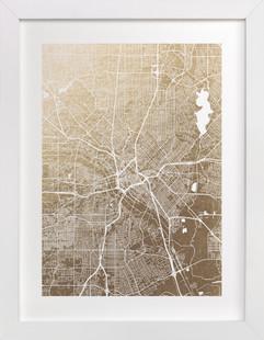 Dallas Map Foil-Pressed Art Print
