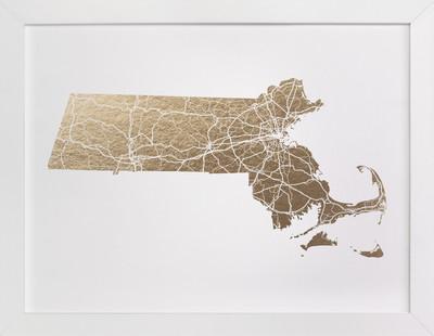 Massachusetts Map Filled Foil-Pressed Art Print