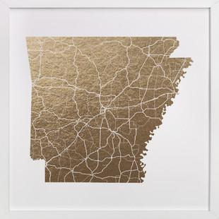 Arkansas Map Foil-Pressed Art Print