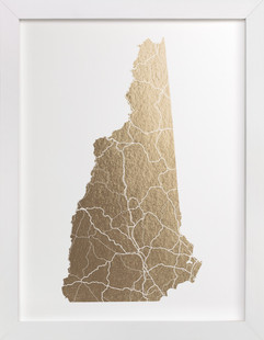 New Hampshire Map Foil-Pressed Art Print