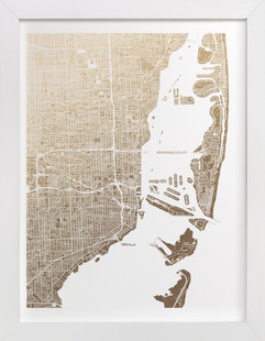 Miami Map Foil-Pressed Art Print
