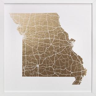 Missouri Map Foil-Pressed Art Print