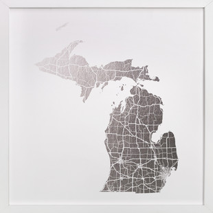 Michigan Map Foil-Pressed Art Print