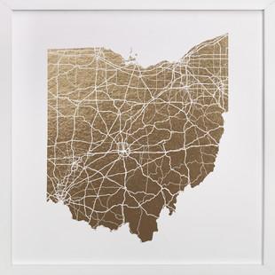 Ohio Map Foil-Pressed Art Print