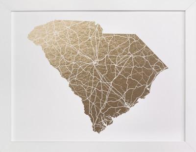 South Carolina Map Foil-Pressed Art Print