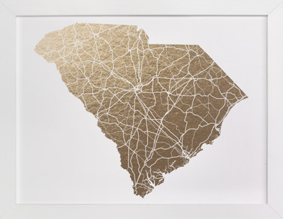 South Carolina Map Foil-Pressed Art Print