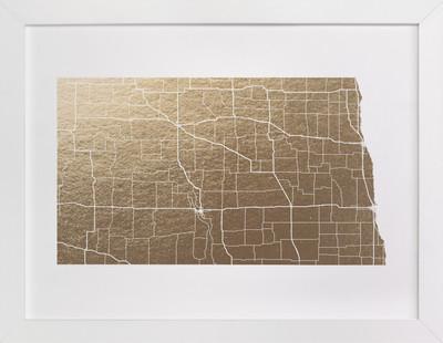 North Dakota Map Foil-Pressed Art Print