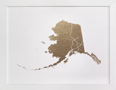 Alaska Map Foil-Pressed Art Print