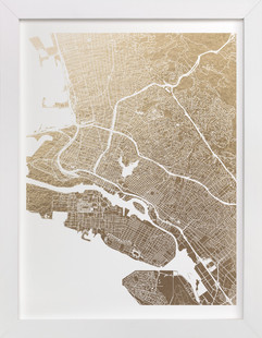 East Bay Map Foil-Pressed Art Print