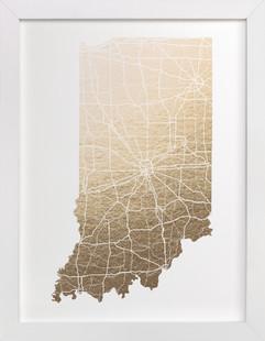Indiana Map Foil-Pressed Art Print