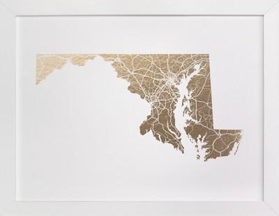 Maryland Map Foil-Pressed Art Print