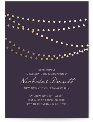 Midnight Vineyard Foil-Pressed Graduation Announcements