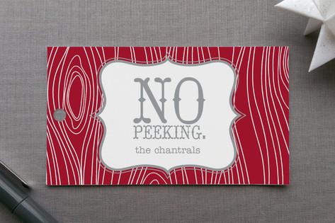 No Peeking Woodgrain Gift Tags