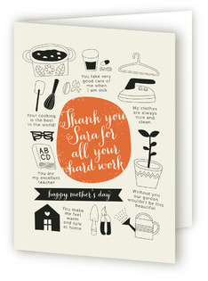 Thank You Mom for All Your Hard Work Mother's Day Greeting Cards