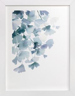 Blue Ginkgo Art Print
