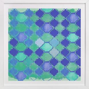 Geometric Blues Art Print