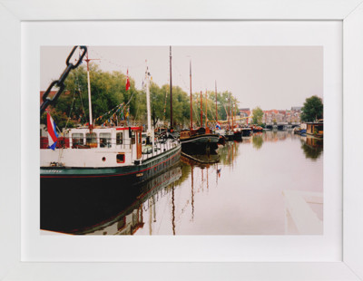 Houseboats in Delft Art Print