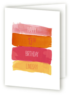 Watercolor Strokes Kids Birthday Greeting Cards