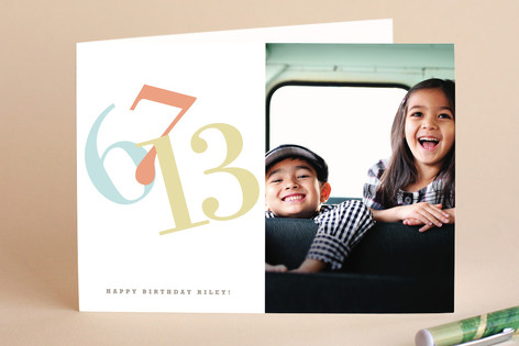 Numbers w/ Photo Birthday Greeting Cards